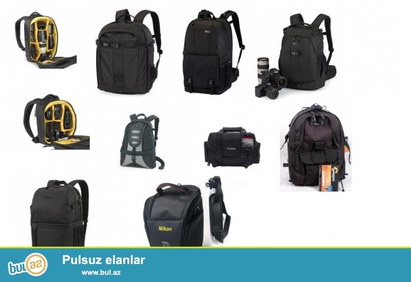 Hamısı təzə əldədir.<br /> Lowepro Runner Pro 300 AW<br /> Lowepro Orion Trekker II<br /> Lowepro Flipside 400 AW<br /> Lowepro Fastpack 350 AW<br /> Lowepro Computrekker AW<br /> Kata Gearpack DL-60<br /> Kata Gearpack DL-100<br /> Canon Gadget 2400/9361 çantası<br /> Canon/Nikon üçün kiçik çanta