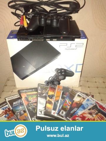 PlayStation 2 Sony satıram. Əla vəziyyətdə.Üstündə 12 disk hədiyyə...