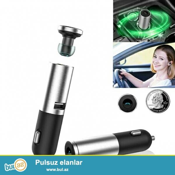 Автомобильная Bluetooth гарнитура (вставляется в прикуриватель) в комплекте дополнительные запасные насадки разного диаметра...