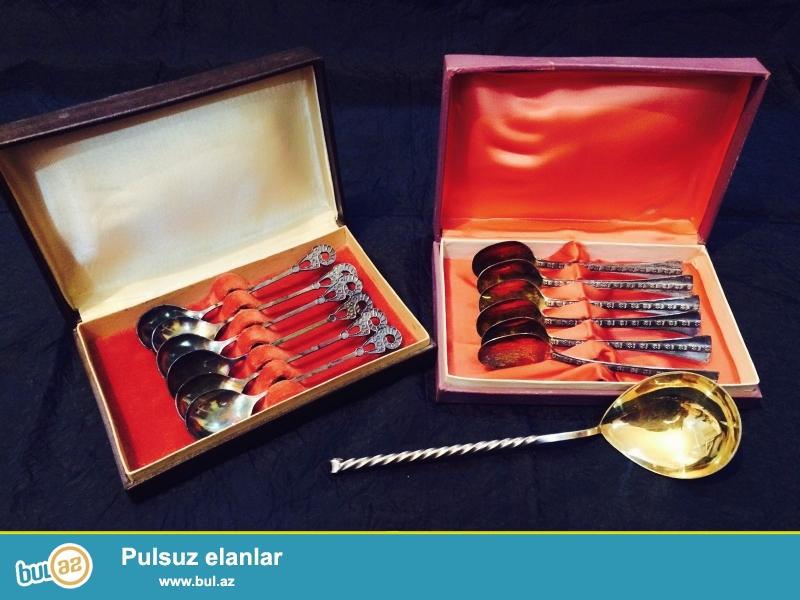 TALLINNA JUVEELITEHAS firmasının 1970-ci il istehsalı olan gümüş və qızıl suyuna batırılmış Qaşıq, çəngəl, bıçaq və s...