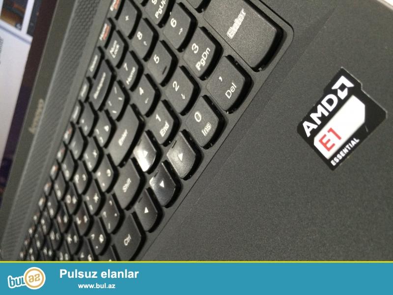 AMD E1-2100 with Radeon HD Graphics 1GHz <br /> RAM-2GB <br /> HDD-500GB <br /> VGA-AMD Radeon HD 8210- 1gb <br /> notebook seliqeli saxlanilib, acilmayib temirde olmayib, cox iw gorulmeyib sadece word ve excell proqramlarinda iwlenilib, iwlemeyi ve gorunuwu cox yaxwidir, 3 saata yaxin enerji saxlayir