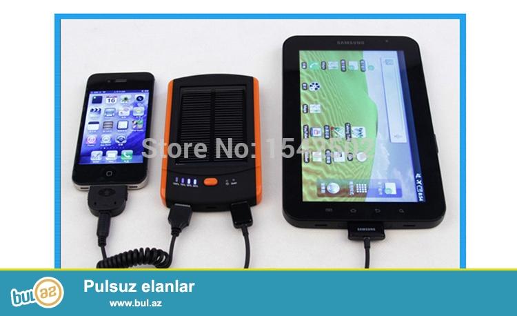 Yeni.Çatdırılma pulsuz<br /> Növ: Emergency / Daşınabilən<br /> İstifadə edilə bilər: kamera, iPad, və Mobil telefonlarda<br /> Tutumu (mAh): 5001-6000<br /> Ölçü: 110 x 57 x 15mm<br /> Model nömrəsi: USB / DC 5V / Computure<br /> Rəngi: sarı + Qara<br /> Günəş paneli: 1...