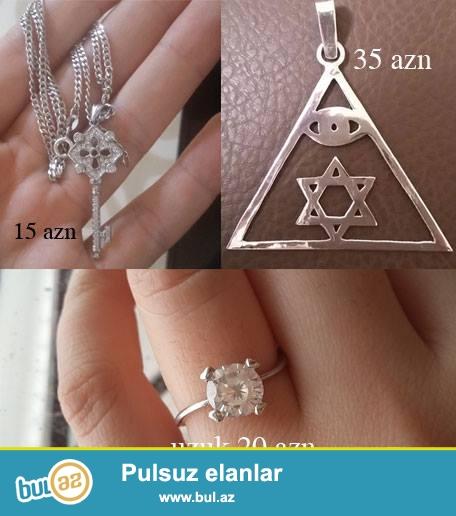 Gümüş açar kolye 15 azn, Gümüş Evrey simvolu 35 azn, Gümüş tək qaş üzük 20 manat  055 943 14 86