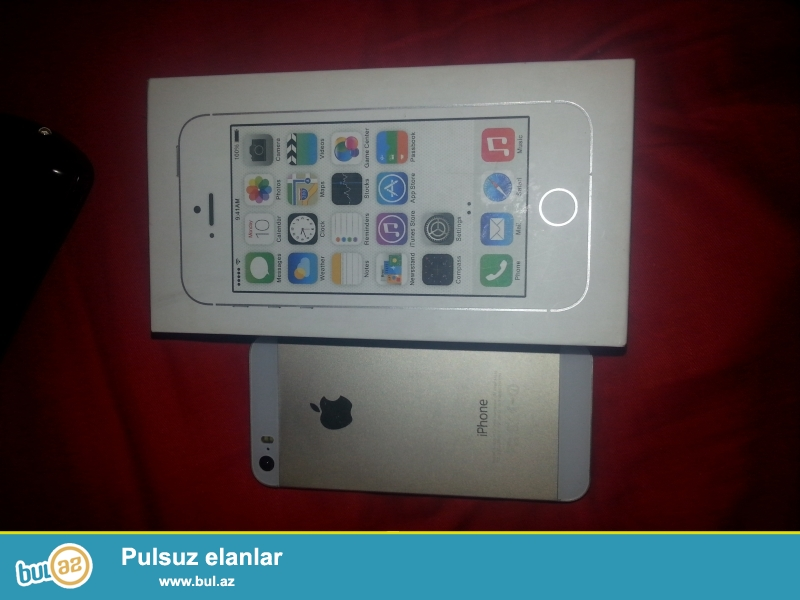 Iphone 5s satilir..Dubai variantidir..Gold rengdedir (qizili) Adoptoru usbsi ve karopkasi var...