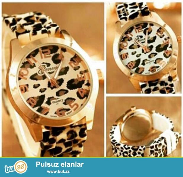 Часы леопард с силиконовым ремешком...