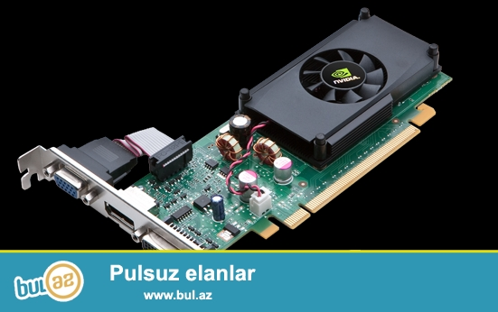 Nvidia Geforce 210 1GB. <br /> Ela veziyetde,Battlefield 3 kimi oyunu Low qrafikada rahat oynamag olur.