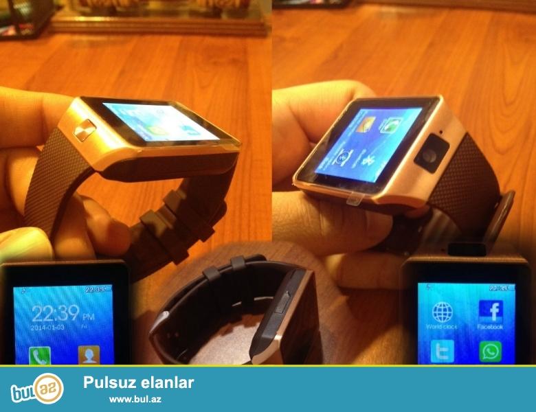 Smart Watch ( Ağıllı saat ) <br /> - Telefon kimi istifadə olunur <br /> - Sim kart - Micro cart <br /> - Whatsapp <br /> - Facebook <br /> - Twitter <br /> - Blutuz ( tele gələn zənglərin qəbulu üçün ) <br /> - Ön kamera <br /> - internet browser <br /> - Navigator <br /> - Muzik player <br /> --- kalendar , gələn gedən və cavabsız zənglərin listi , kakulyator , blutuz , şəkil üçün galerya , idman zamanı yeridiyiniz addım proqramı, səs zapsı , və s əlavə programlar...