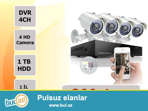 299 azne 4 eded analog kamera 399 azne 4 eded HD kamera istediyiniz sayda ve sechimde xidmet gosterilir...