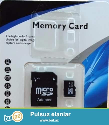 32gb micro kart satilir.<br /> Tezedir. sekilde gorduyuvuz kimidi<br /> Qiymet-11 azn<br /> 5 ve daha artiq goturene qiymet 10 azn<br />
