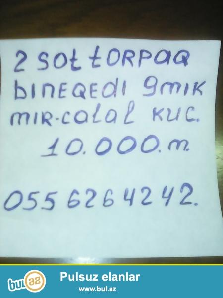 Bineqedi rayon 9-cu mikrarayon mircelal kucesi 65 ve 61 marsurutun axrinci dayanacaginda 2 sot torpaq satilir...