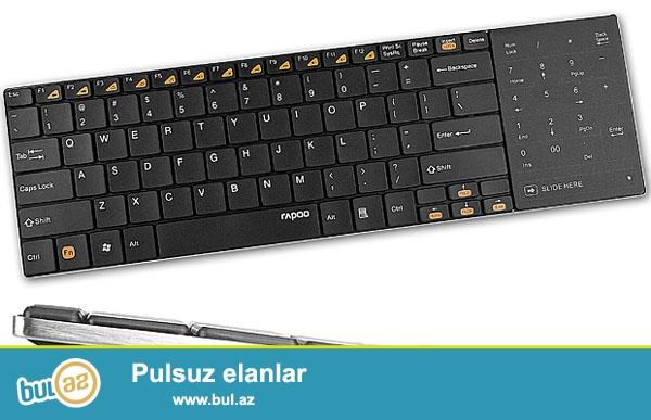 Стильная беспроводная клавиатура<br /> Rapoo E9080<br /> <br /> • Беспроводная клавиатура<br /> • Питание манипулятора - 2×AAA<br /> • Тип клавиатуры - компактная с переключаемым touchpad<br /> • Манипулятор прокрутки - touchpad, который можно переключать в режим эмуляции Numpad<br /> • Габариты, мм - 110x359<br /> • Толщина - 5...