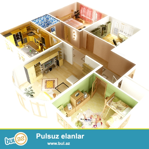 Evlerin,interyerin,villa,obyektler ve tikililerin 3D formatinda dizayn ve layihelendirilmesi Cork House MMC firmasinda cox münasib qiymete, 1 kv/metri cemi 10 manata bizim pesekar dizayner terefinden heyata kecirilecek...
