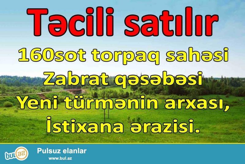 Təcili 160sot torpaq sahəsi satılır: <br /> Zabrat q...