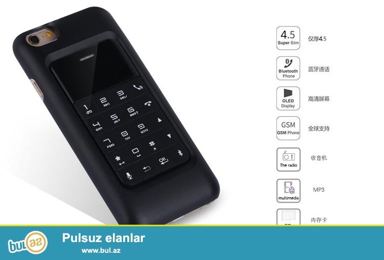 Yeni.Çatdırılma pulsuz<br /> <br /> Anica i6 iphone 6 ya qoşula bilən arxalıqlı telefon kredikart boyda həm də ayrıca istifadə edilə bilər<br /> Hem iphona qoşulur hem de nömrə taxıla bilir...