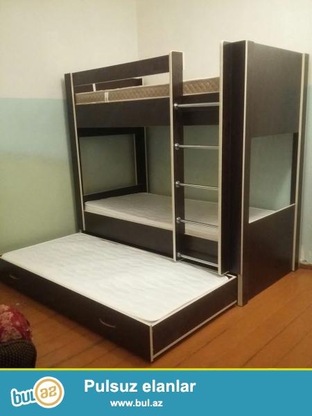 Üç yataqdan ibarətdir. 3-cü yataq yerində siyirtmələr sifariş verə bilərsiniz...