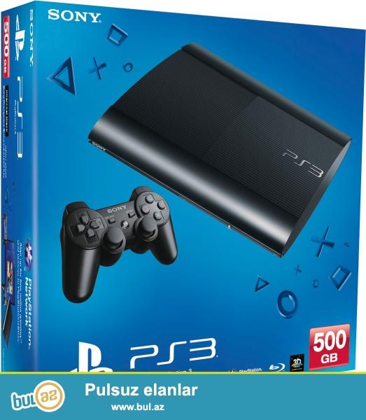 Play Station 3 Super Slim 500 GB.(korobkasıda var) İki ədəd orijinal djoystik, 3 ədəd oyun diski üstündə hədiyyə...