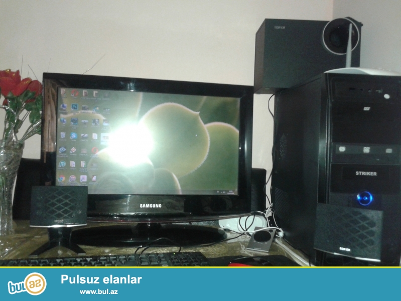 az islenmis Persanalni kamputer <br /> Ram 4 <br /> Videokart 2 <br /> hhd 258 <br /> Yaddas 512 <br /> Manitor samsung hem tv,hemde PC destekleyir...
