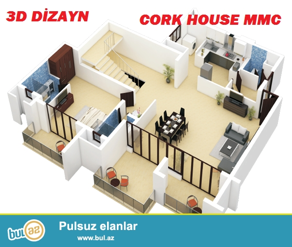 Cork House MMC firması 3D dizayn xidmətlərini təklif edir, ev, villa,obyekt,interyer və tikililərin layihələndirilməsi, planların,eskizlərin çəkilməsi çox münasib qiymətə, 1 kv/metri cəmi 10 manata...