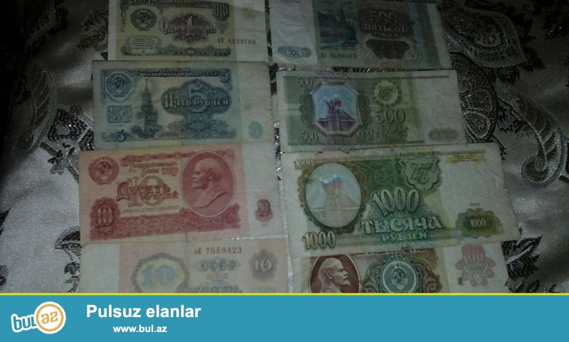 1eded  1-rubl    10 azn<br /> 1 eded 5 -rubl   20 azn<br /> 2 eded 10 rubl  1* 30 azn<br /> 1 ed 100 rubl     50 azn<br /> 2 ed 500 rubl     25 azn<br /> 1 ed 1000 rubl   30 azn
