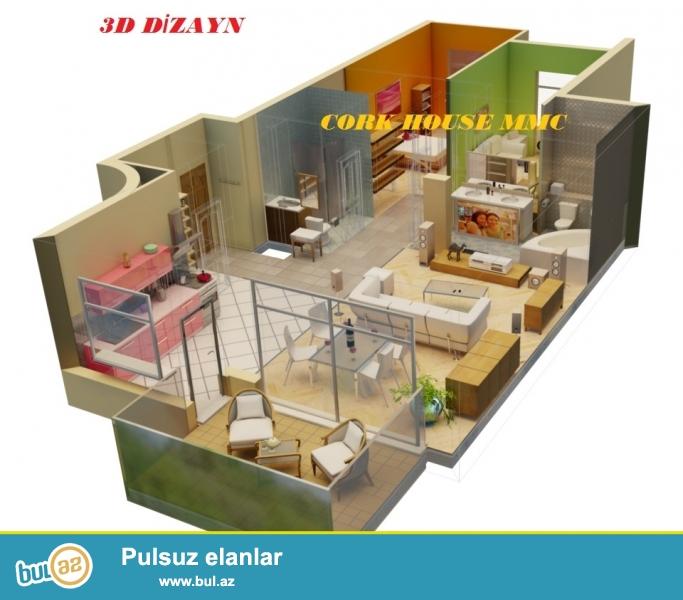 Ev,villa və interyer 3D dizaynla islenmesi, layihelendirilmesi, eskizlerin cekilmesi Cork House MMC de 1 kv/metri cemi 10 azn professional dizayner terefinden heyata kecirilir...