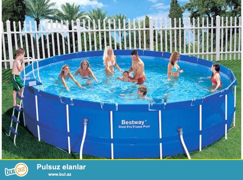 Yigma baseyin Metal Frame Pool 45 deqiqeye su ile birge yigilir...