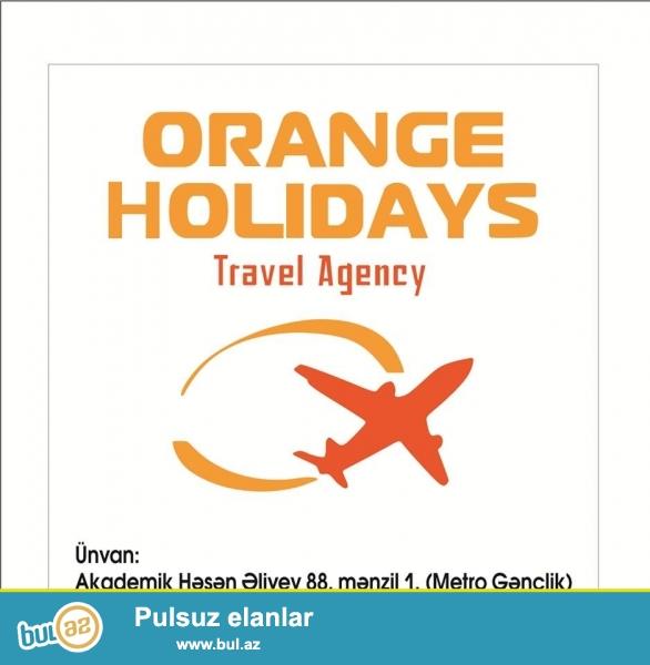 Orange Holidays Travel Agency- Sizlərə: AVİAKKASSA, XARİCİ TURLAR, DAXİLİ TURLAR, VİZA, SIĞORTA, TRANSFER - Xidmətlərini təklif edir.