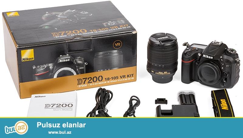 В наличии <br /> Nikon D7200 kit 18-105mm VR<br /> Пробег : 0<br /> Цена : 1800 AZN <br /> Контактный номер : (055) 707 60 61