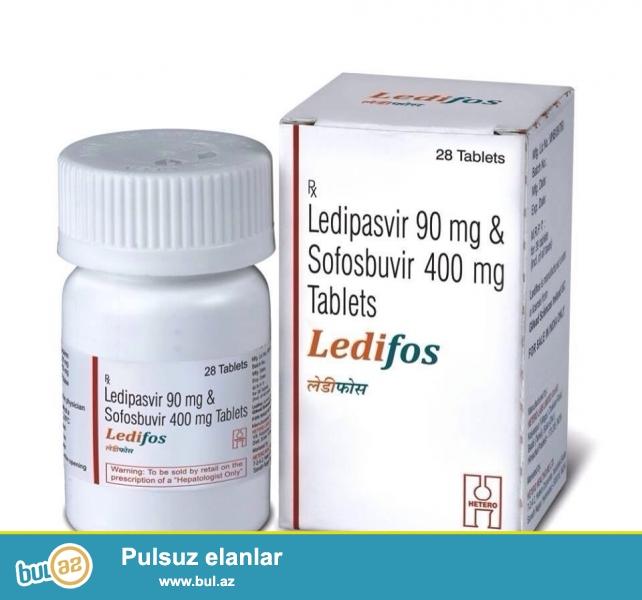 Hindistan istehsali Ledifos, terkibi Ledipasvir 90mg ve Sofosbuvir 400mg<br /> Tam oijinal, hindistanin Hetero firmasinin dermani, qoloqramali, qoruyucu ortuklu baglamada...