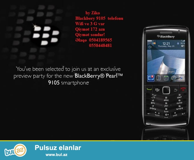 Blackbery 9105 yeni qutuda Mexico istehsallı telefon