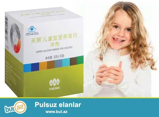Uşaqlar üçün kalsium tozu(40AZN) <br /> Tərkibi:kalsium tozu,lesitin,taurin,dəmir,minerallar,vitaminlər(A,D,E,C,B)...