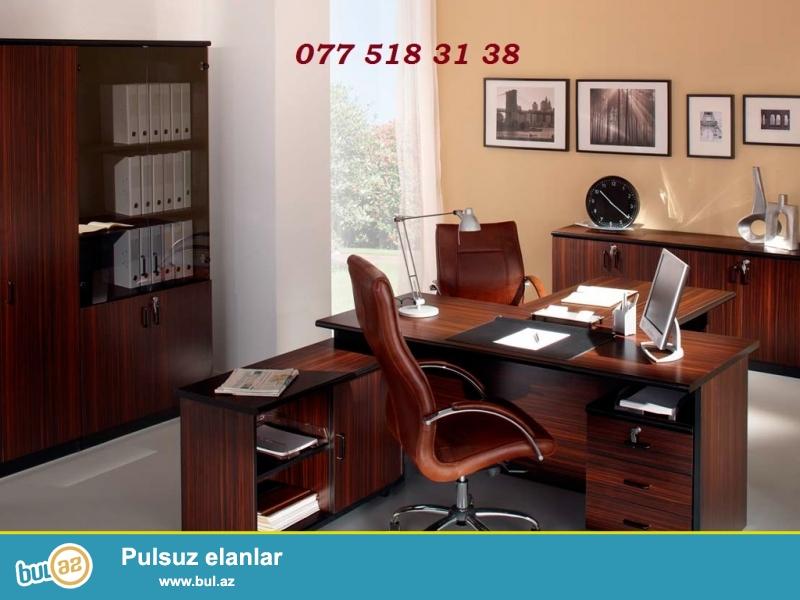 6 ayliq daxili faizsiz kreditle ferqli dizaynlarda ofis-mudir destlerinin sifarisle hazirlanmasi Cork House MMC firmasinda...