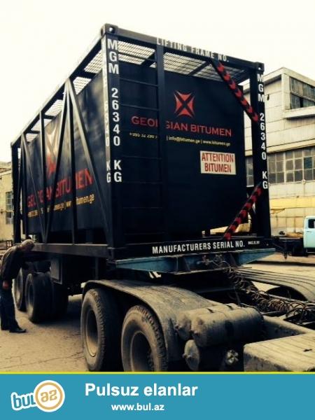 Bitum və neft daşınması üçün konteyner çəni...