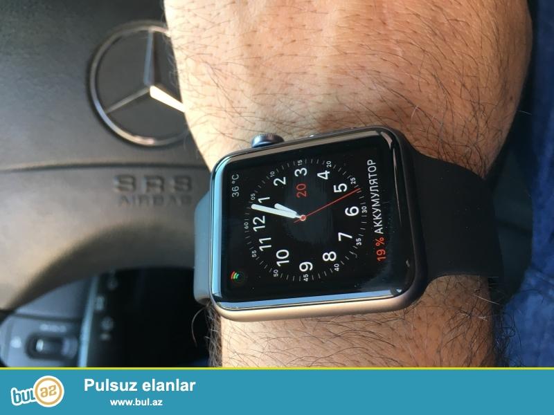 Black 42 mm sport Apple Watch çox az istifade olunub teze kimidi karopkası elave remeni de var