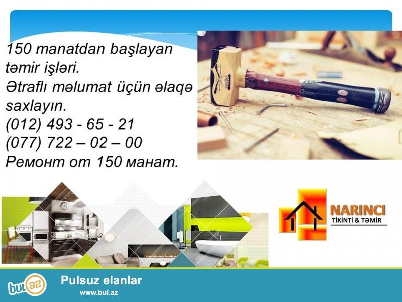 Sizə m2-i 150 manatdan başlayan təmir işlərini təqdim edirik...