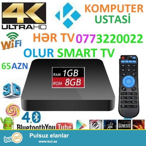 -IPTV Butun Azerbaycanda aylig odeniwsiz 500 kanal<br /> -Smart tv box android butun kohne teze tv-leri edir smart <br /> -wifi youtube giriwle <br /> -aylig abunesiz pulsuz! <br /> -uwaglara multfilm ve online kinolara bahmag olar<br /> -1gb ram, 4 nuvelli processor, pult, HDMI kabel <br /> -dvd playeri tam evez edir<br /> -kohne televizorlari deiwmek ehtiyac galmadi<br /> -2x USB yeri flewka,Hard disk,miwka, klaviatura, joystik icun,microSD yerleri var<br /> -Playmarketi var,facebook,skype,google chrome,youtube,skype ve s...