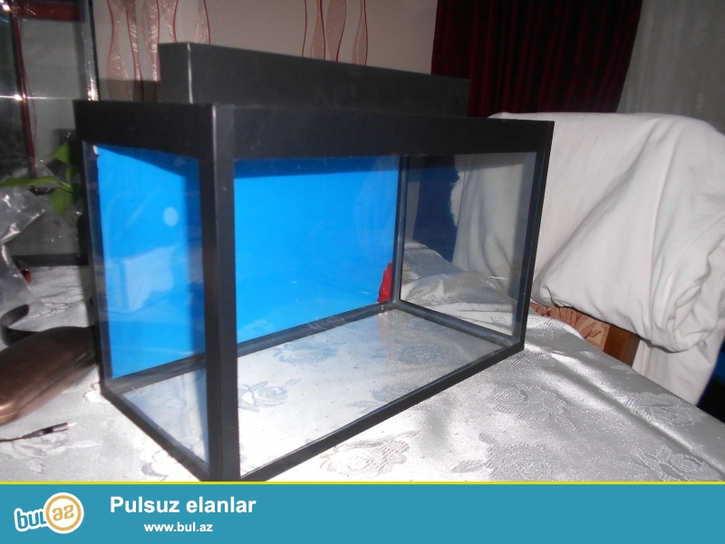 teze akvarium  <br /> uzunu 40 sm <br /> hundurluyu 30 sm <br /> eni 20 sm  <br /> qapaqi var arxa fon wekili var
