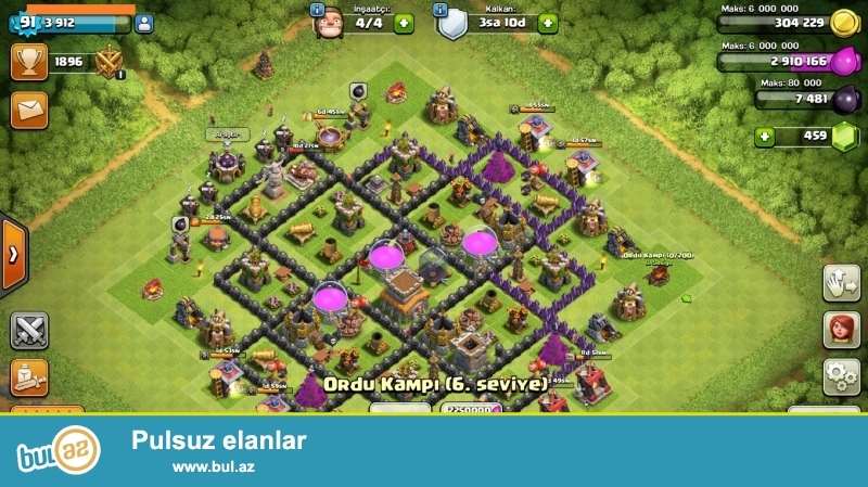 CLash of clans th 8. 3 hefteye full olur ve 5 insaatci + 500 elmasla satacam isteyene ...