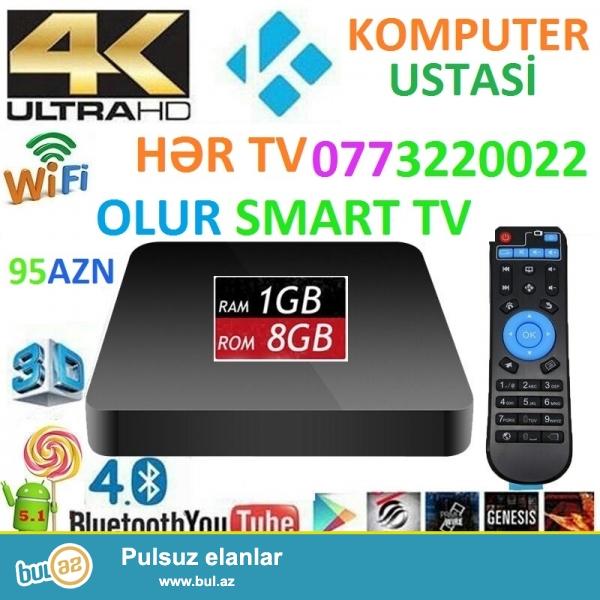 -IPTV Butun Azerbaycanda aylig odeniwsiz 500 kanal<br /> -Smart tv box android butun kohne teze tv-leri edir smart <br /> -wifi youtube giriwle <br /> -aylig abunesiz pulsuz! <br /> -uwaglara multfilm ve online kinolara bahmag olar<br /> -2gb ram, 4 nuvelli processor, pult, HDMI kabel ve AV kabel komplekte<br /> -dvd playeri tam evez edir<br /> -kohne televizorlari deiwmek ehtiyac galmadi<br /> -2x USB yeri flewka,Hard disk,miwka, klaviatura, joystik icun,microSD yerleri var<br /> -Playmarketi var,facebook,skype,google chrome<br />