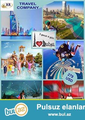 RR Travel<br /> Əziz Turistər!<br /> Sizlərə oktyabr ayında Dubaya sərfəli qiymətlərə turpaket təklif edirik! Turpaketin qiyməti cəmi 279 $-dan başlayır...