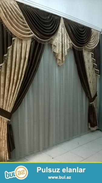 Müxtəlif materiallardan dekorativ pərdələr. Standart ölçüləri: eni-3 m, hündürlük-2,8m...