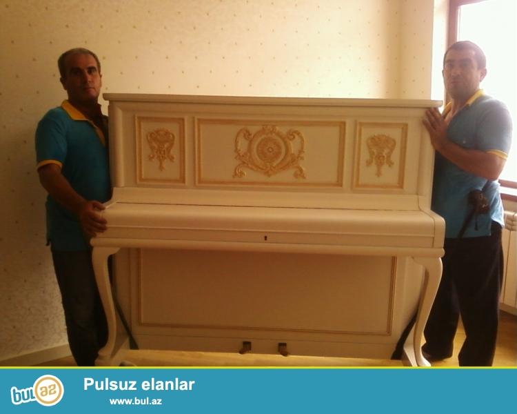 Pianinoların və royalların daşınması peşəkar və təcrubəli işçilər tərəfindən həyata keçirilir