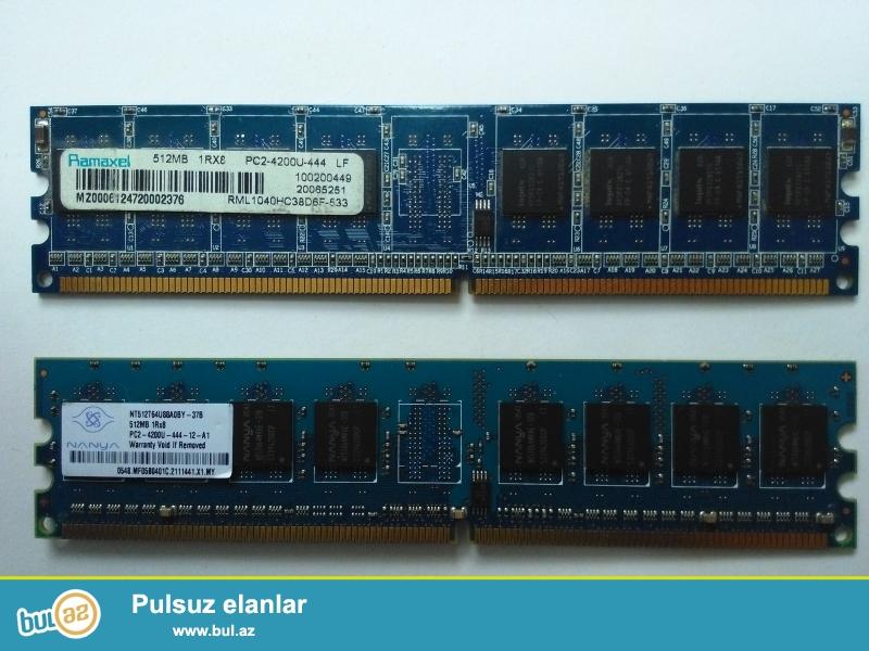 Kompüter üçün yaddaş kartları DDR2 512mb 2 ədəd pc4200u 444mhz...