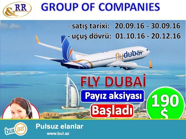 """Hörmətli turistlər, <br /> """"Fly Dubai"""""""" Şirkəti uçuşlarında payız aksiyasına start verdi: <br /> <br /> BAKI-DUBAY-BAKI - 190 USD<br /> BAKI - KÜVEYT-BAKI - 210 USD<br /> BAKI-KOLOMBO-BAKI - 390 USD<br /> BAKI-MALDİVİ-BAKI - 390 USD<br /> BAKI-DAKKA-BAKI - 428 USD<br /> BAKI-BƏHREYN-BAKI - 210 USD<br /> BAKI-SİALKOT-BAKI - 410 USD<br /> <br /> QEYDLƏR*:<br /> <br /> - satış tarixləri 20..."""