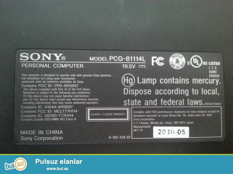 Sony VAIO notebooku satılır. Ana platası yanıb...