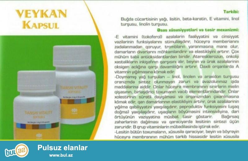 Veykan.(44AZN) <br /> Tərkibi:buğda cücərtisinin yağı,lesitin,beta-karotin,E vitamini,linol turşusu,linolen turşusu...