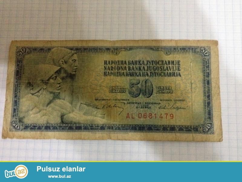 Pul 50-Dinar 1968-ci ilin Yuqaslaviya kohne eskinazdir retki puldu kolksanerler ucun eladir