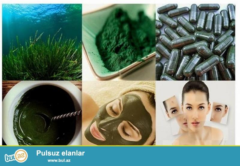 Spirulina.(46AZN) <br /> Tərkibi:Təbii spirulina tozu,beta –karotin,B qrup vitaminlər,dəmir,kalsium,maqnezium,mis,sink...