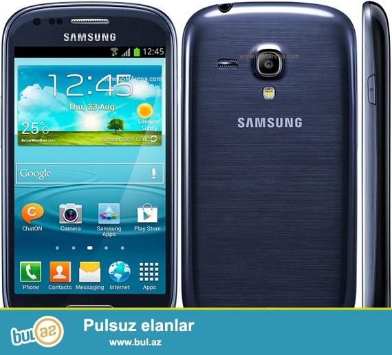 Samsung S3 mini TECILI SATILIR! <br /> Prablemsiz telefondur, ustada olmuyub, ekraninda antiudar var xaish edirem fikri ciddi olmayan shexsler narahat etmesin...