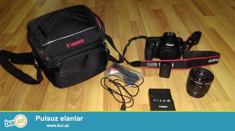 İdeal vəziyyətdədir.Canon 60D (body) + obyektiv (18-55) + Canon çantası (orginal)...