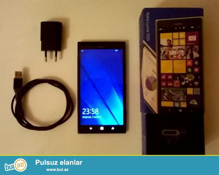Satilir Nokia Lumia 1520.<br /> Qutusu,orijinal adaptoru,USB kabeli var...